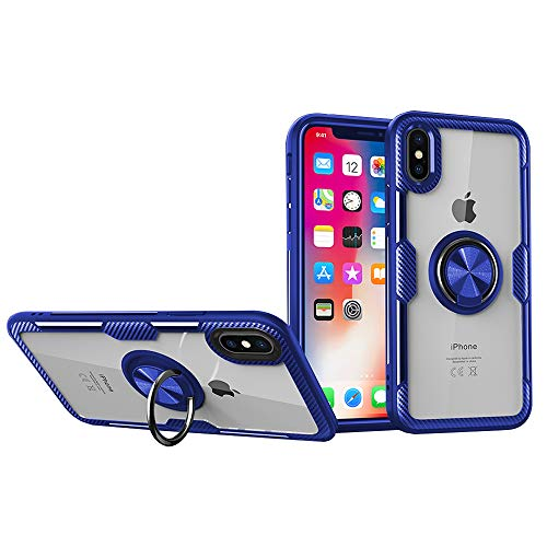Grotech iPhone Xs Max Case Clear Slim Ring Holder Kickstand Magnetic Car Mount Hard PC + Soft TPU Bumper Shockproof Protective Cover (Blue)