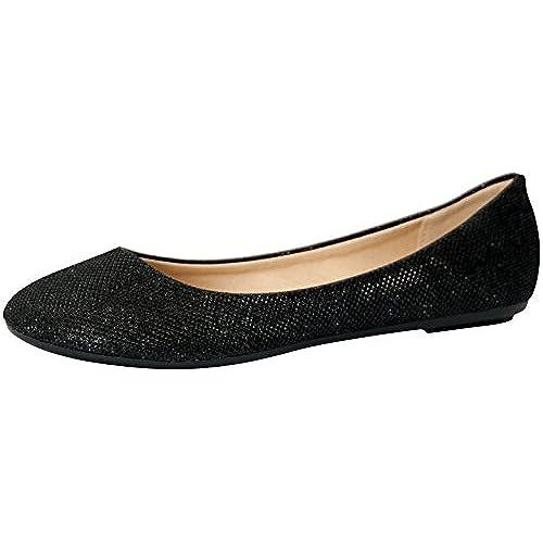 REFRESH DEMI-07 Women's Glitter Shinny Ballerina Ballet Slip On Flats,  Color:BLACK, Size:9, Black, 9 B(M) US