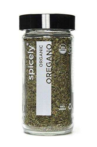 Spicely Organic Mediterranean Oregano Whole - Glass Jar - Gluten Free - Non Gmo - Vegan - Kosher