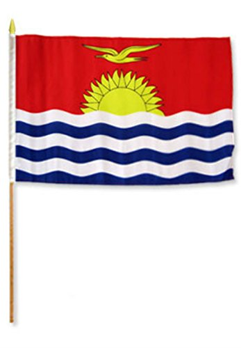 ALBATROS 12 inch x 18 inch (Pack of 12) Kiribati Stick Flag with Wood Staff for Home and Parades, Official Party, All Weather Indoors Outdoors