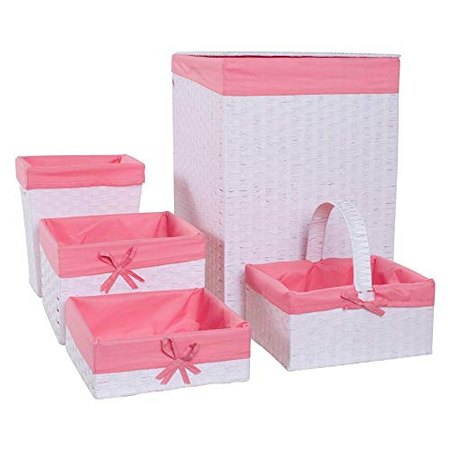 Redmon 5-Piece Hamper Set, White/Pink (Wicker Liner White Pink Hamper)