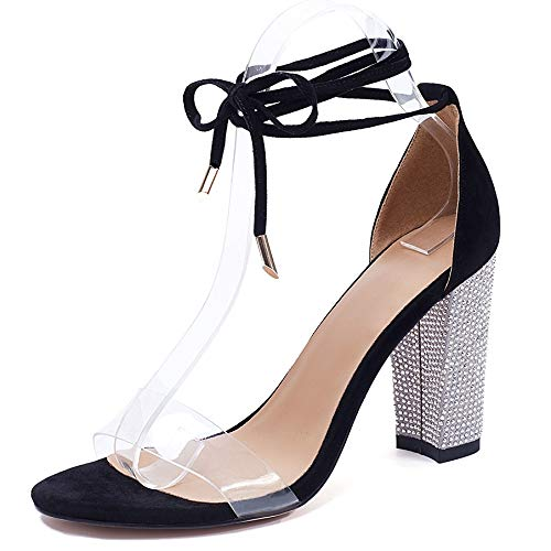 VANDIMI High Heel Sandals for Women Clear Heels with Rhinestone Ankle Strappy Lace Up Block Heel Diamante Dress Party Shoes Black