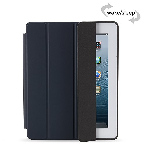 GOLP iPad 4 Case, iPad 3 Case, iPad 2 Case, iPad Protective Case Folding Lightweight iPad Bumper Cover With Sleep Wake Function And Hard Back Stand For Apple iPad 2/3/4 - Dark Blue Photo #6