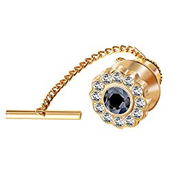 Clear Crystal Black Tie Tack with Chain