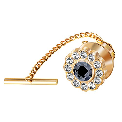 Digabi Men's Jewelry Flower 10mm Tie Tack With Chains and Clutch Back Glittering Rhinestone and Clear Crystal Tie Clip Button Color Options by Digabi
