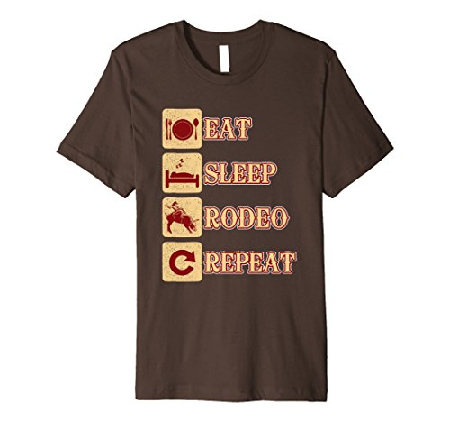 Mens Eat Sleep Rodeo Repeat Tee Shirt Gifts Large Brown
