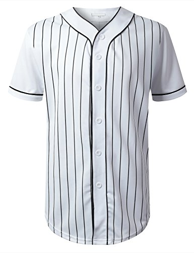URBANCREWS Mens Hipster Hip Hop Striped Baseball Jersey T-shirt WHITE - T-shirt Jersey Striped