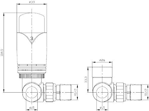 Esquina TRV /& Detentor Reino Cromo V/álvulas Radiador Inc V/álvula Termost/ática Radiador Juego