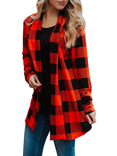 Womens Buffalo Plaid Long Sleeve Plus Size Open Front Elbow Patch Cardigans Red