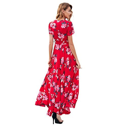 c07f14844c 80%OFF Simplee Women's Casual V Neck Floral Print Boho Maxi Dress With Short  Sleeves