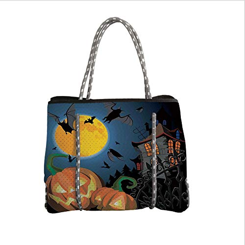 iPrint Neoprene Multipurpose Beach Bag Tote Bags,Halloween Decorations,Gothic Halloween Haunted House Party Theme Decor Trick or Treat for Kids,Multi,Women Casual Handbag Tote Bags -