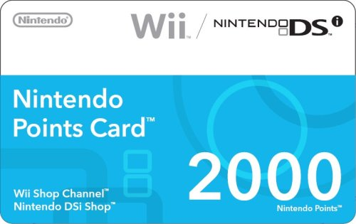 Nintendo Wii 2000 Points Card - Nintendo 2000 Points Card (DSi or Wii)