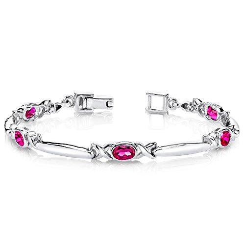 (Modern Style Oval Cut Created Ruby Gemstone Bracelet in Sterling Silver Rhodium Nickel Finish)