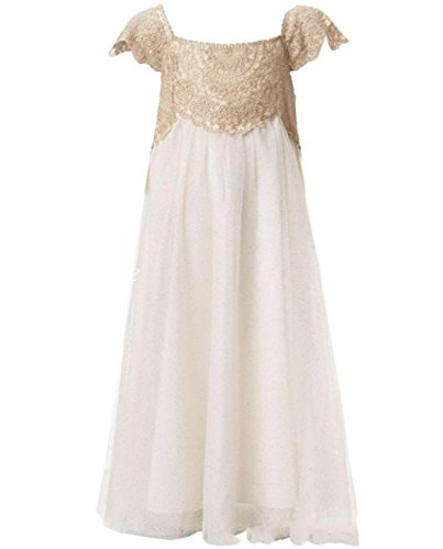 Ikerenwedding Lace Tulle Flower Girls Summer Wedding Bridesmaid Party Dress