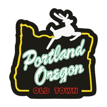 Portland oregon stag in heart sticker old town 100 vinyl super adhesive used on all hard smooth clean surfaces outdoor indoor use