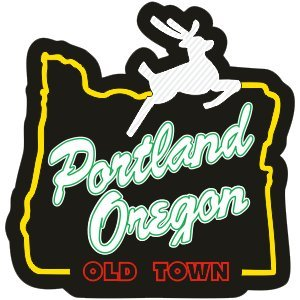 """Portland Oregon"" Stag in Heart Sticker (OLD TOWN) - 100% Vinyl - Super Adhesive - Used on all hard smooth clean surfaces - Outdoor & Indoor Use - Waterproof - Weather & UV resistant"