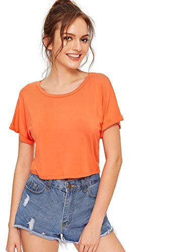 SweatyRocks Women's Casual Round Neck Short Sleeve Soild Basic Crop Top T-Shirt (Large, Orange)