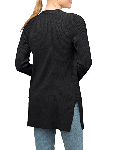 89th&Madison Ribbed Notch Hem Duster Cardigan (XL, Black) by 89th&Madison (Image #1)