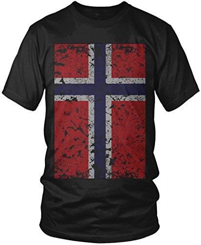 Norway Match (Norway Flag, Oversized Faded Distressed Norwegian Flag Men's T-shirt, Amdesco, Black Small)