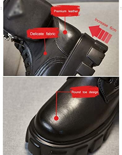 N / A Stivaletti a punta tonda con piccola borsa staccabile, stivali da moto da donna, scarpe stringate europee e americane, colore nero, 35