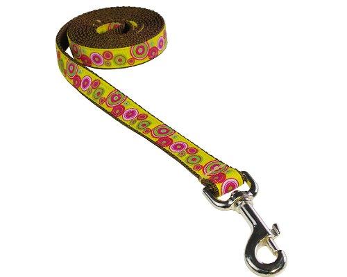 1) Small 3 4\ Sassy Dog Wear 4-Feet Yellow Fuchsia Swiss Dot Dog Leash, Small