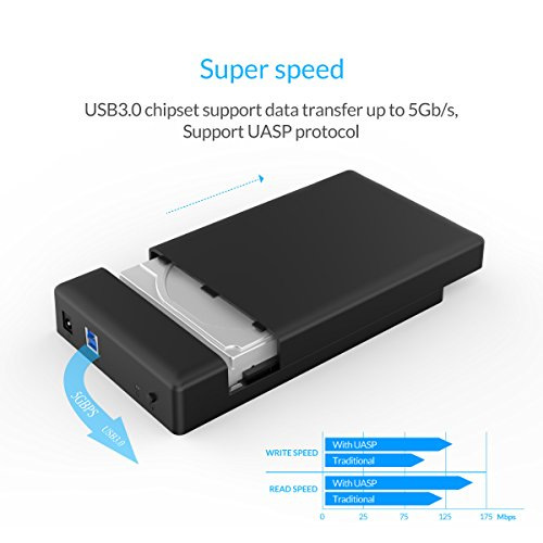 ORICO Toolfree USB 3.0 to SATA External 3.5 Hard Drive Enclosure Case for 3.5 SATA HDD and SSD[Support UASP and 8TB Drives] by ORICO (Image #2)