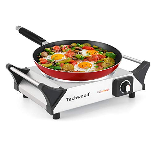 Techwood Hot Plate Single Burner Electric Ceramic Infrared Portable Burner, 1200W with Adjustable Temperature, Stay Cool Handles, Non-Slip Rubber Feet, Stainless Steel Easy To Clean, Upgraded Version ES-3103C