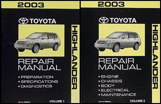 2003 Toyota Highlander Repair Shop Manual Original SetFrom Toyota