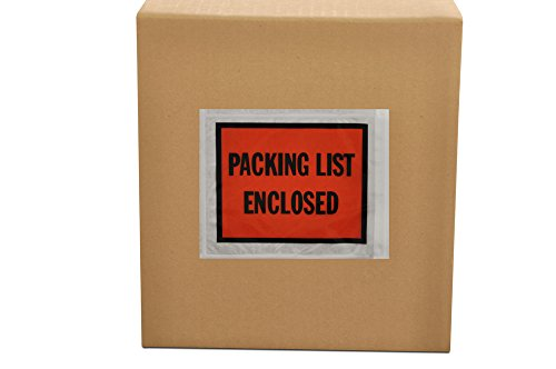 Packing List Enclosed Pouches, Invoice Label Envelopes Sleeve, Clear Orange, 4 1/2 x 5 1/2 inch, Self Adhesive, 1000 Pack