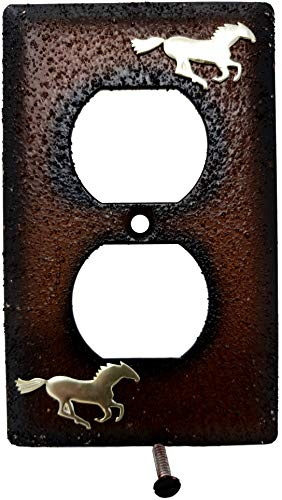 Horse Outlet Cover - Rainbow Trading RA 3739 Gold Horse Decorative Outlet Wall Plate Cover