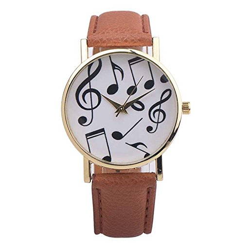 Womens Quartz Watches,COOKI Musical Notes Pattern Unique Analog Fashion Clearance Lady Watches Female watches on Sale Casual Wrist Watches for Women Comfortable Faux Leather Watch-H43 (Brown)
