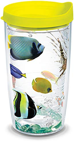 Tervis 1124145 Tropical Fish Tumbler with Wrap and Neon Yellow Lid 16oz, Clear