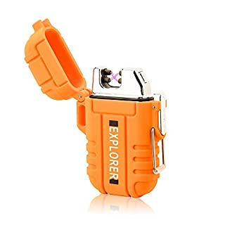 lcfun Waterproof Lighter Outdoor Windproof Lighter Dual Arc Electric Lighters Rechargeable-Flameless-Plasma Lighter for Camping,Hiking,Outdoor Adventure (Orange)