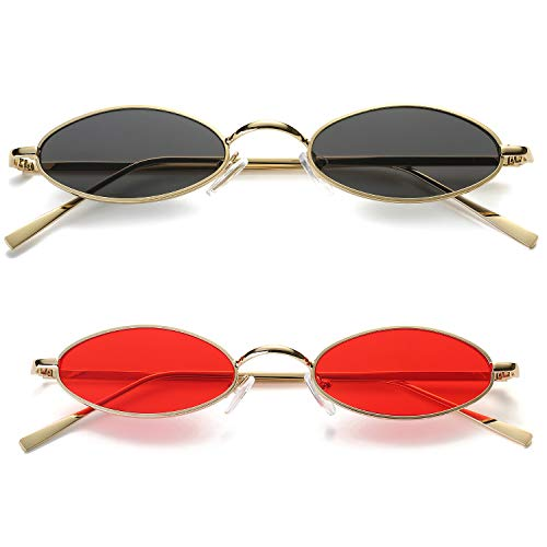 Vintage Oval Sunglasses For Women - Feirdio Small Metal Frame Candy Color 2265 (2 pack, 2.05) (Sunglasses For Men Oval)