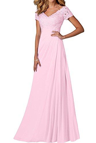Rosa Kurzarm Spitze Rock A linie Damen Partykleider Lang Brautmutterkleider Abendkleider Charmant ausschnitt V Festlichkleider OAZCwxnq5n