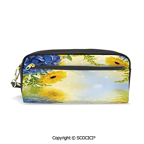 - PU Leather Student Pencil Bag Multi Function Pen Pouch Romantic Bouquet of Hydrangeas and Asters on Water Background Office Organizer Case Cosmetic Makeup Bag