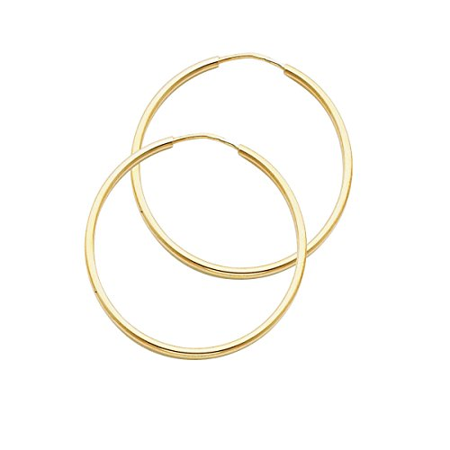 14k Yellow Gold 1.5mm Thickness Endless Hoop Earrings (Style Options) (TGDJ120- 30mm Diameter) by Top Gold & Diamond Jewelry