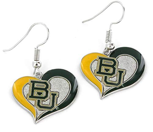 NCAA Baylor Bears Swirl Heart Earrings