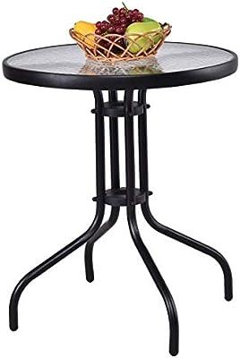 Tangkula 61 cm Patio Table Ronde Jardin Yard extérieur ...