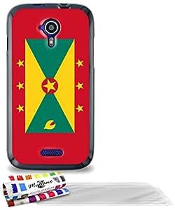 """Carcasa Flexible Ultra-Slim WIKO CINK FIVE de exclusivo motivo [Bandera Grenada ] [Negra] de MUZZANO  + 3 Pelliculas de Pantalla """"UltraClear"""" + ESTILETE y PAÑO MUZZANO REGALADOS - La Protección Antigolpes ULTIMA, ELEGANTE Y DURADERA para su WIKO CINK FIVE"""