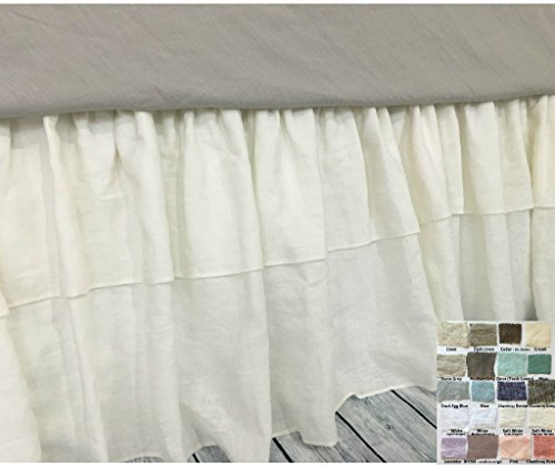 Linen bed skirt with double ruffle – White, Gray, Blue, Pink, Stripe, Chevron, over 40 colors and patterns, HANDMADE, FREE SHIPPING (Bedskirt Pattern)