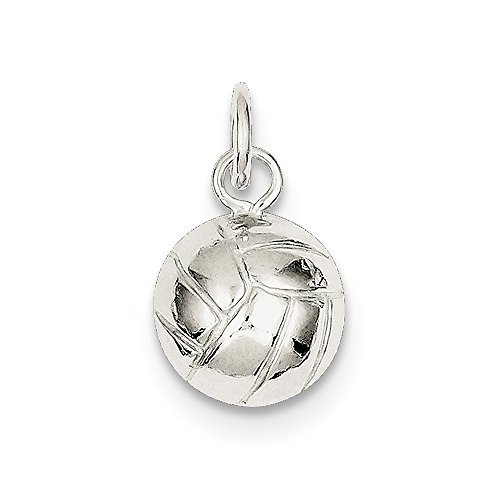 Volleyball Charm In 925 Sterling Silver 16x11mm - Sterling Silver Volleyball