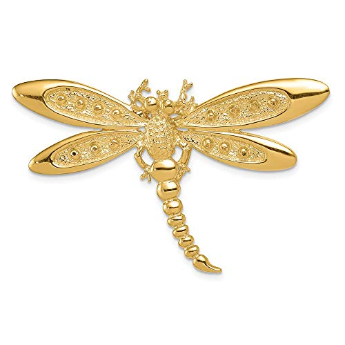 Solid 14k Yellow Gold Dragonfly Pendant Slide (30mm x 50mm)