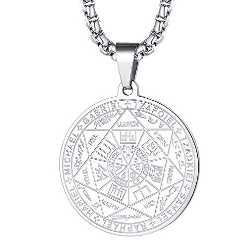 (FaithHeart The Seal of The Seven Archangels Pendant Necklace, Stainless Steel Blessings Jewelry, 7 Archangels Weekly Protection Medals Customize Available (Send Gift Box) )