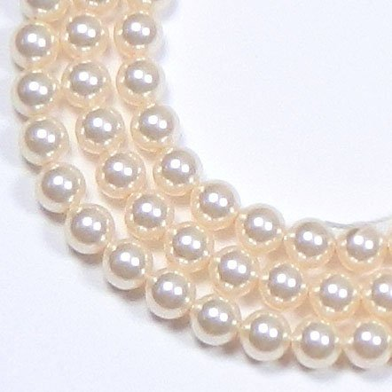 200 Swarovski Crystal Glass Pearls 3mm Round Beads (5810). 24 Inch Loose Strand (Light Cream Rose)