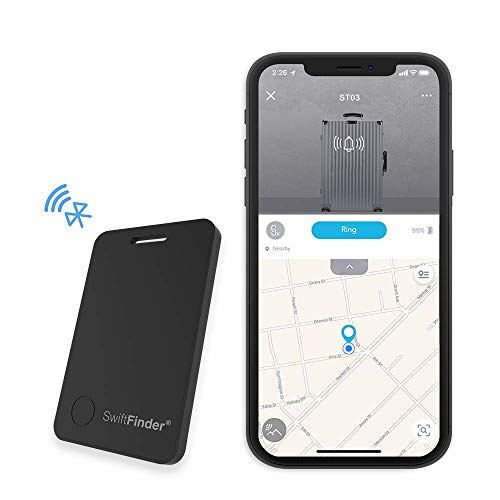 Bluetooth Tracker,SwiftFinder Item Locator Phone Finder Smart Luggage Tag Anti-Lost Alarm 5 Years Lasting Batteries for Luggage/Bag/Keys/Backpack/Phone