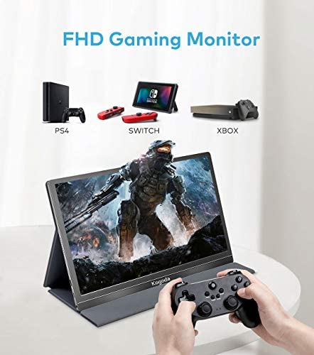 13.3″ Portable Monitor, Kogoda FHD 1080P USB Computer Display Eye Care Gaming Monitor External Secondary Display with IPS Panel, HDMI, Type-C, Dual Speakers for PC Laptop Mac Phone PS4 Xbox (Gray) 41nZ 2BsVEMzL