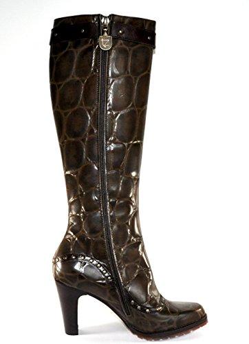 Damen Stiefel Kroko Prägung Tentazione 21456 Coccone Oak Schokobraun mit Schnalle