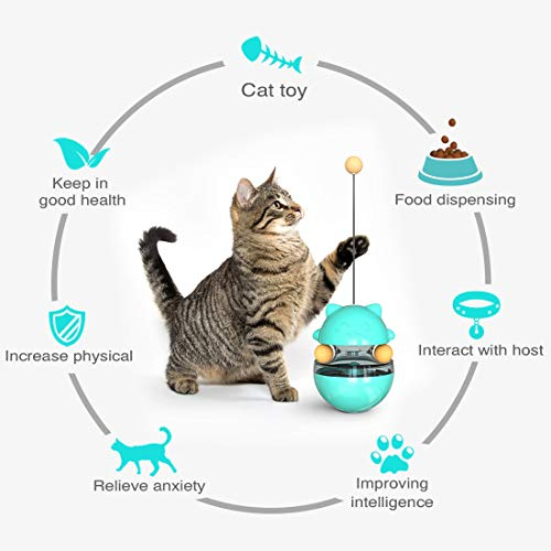 QAZSE Treat Interactive Cat Toy Tumbler Design IQ Puzzle Food Dispensing Cat Slow Feeder with Cat Wand Blue Color
