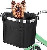 MoKo Detachable Bike Basket Front, Folding Multi-Purpose Bicycle Handlebar Basket for Small Dogs Pets Carrier,